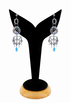 Exclusive Stylish Girls Victorian Earrings in Turquoise Beads-0