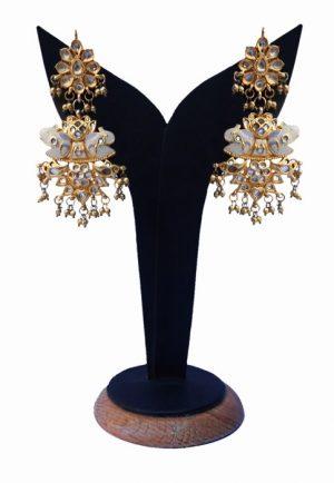 Party Wear Stylish Long Polki Earrings in White Stones for Girls-0
