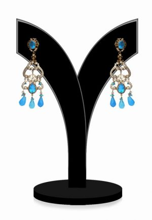 Buy Online Stylish Victorian Earrings in Turquoise and White Stones-0