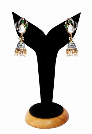 Traditional Green Stones and Pearl Jhumkas From India-0