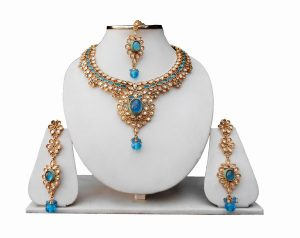 Turquoise Bridal Necklace Set with Earrings and Tikka for Girls-0