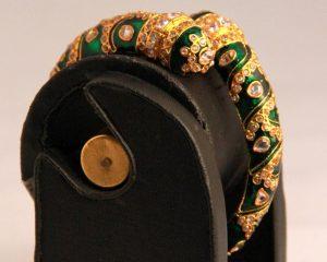 Twisted Meenakari Bridal Bangles in Green Designer Pattern-0