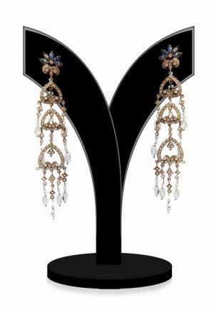 Hanging Victorian Fashion Earrings for Women in White Stones-0