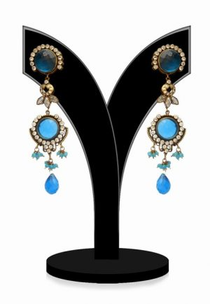 Gorgeous Turquoise and White Stone Victorian Party Earrings-0