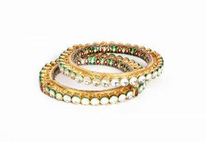 Beautiful Pair of Bridal Bangles with Green Stones and Meenakari Work-0