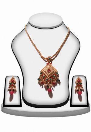 Women Designer Polki Pendant Set in Red, Green & Pearls-0