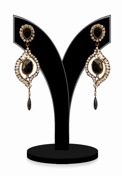 Fashion Earrings for Women in Black and White Stones-0