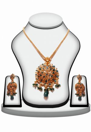 Antique Green Stone Polki Ethnic Necklace Set-0