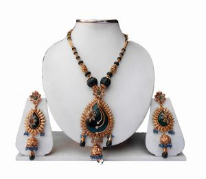 Beautiful Designer Antique Pendant Set with Matching Earrings-0