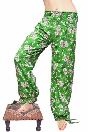Beautiful Bright Green Baggy Harem Leggings with White Flowery Print-0