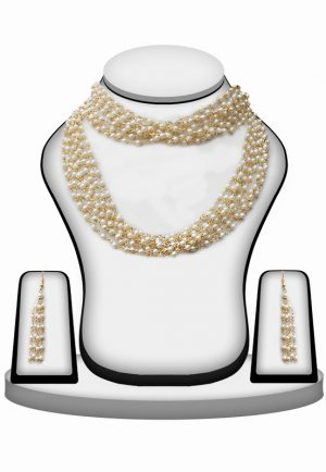 Elegant Pearl Beads Necklace Set With Earrings for Wedding-0