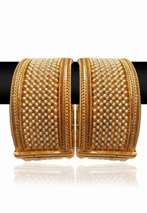 Broad and Beautiful Bridal Bangles in Pearls with Golden Polish-0