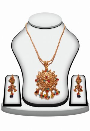 Beautiful Fancy Polki Necklace Set with Earrings in Multi-Color Stone-0