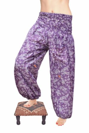 Latest Designs Purple Berry Baggy Harem Leggings With White Flowery Prints-0