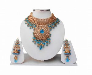Designer Bridal Indian Necklace Set with Earrings From India-0