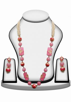 Kundan Work Pink and Red Beaded Bridal Jewellery Set with Indian Earrings-0