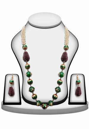 Red and Maroon Kundan Stone Beads Bridal Jewellery Set with Earrings for Women-0