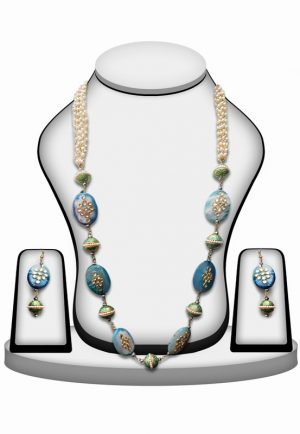 Beautiful Bridal Necklace Set with Earrings in Blue Beads with Kundan Work-0