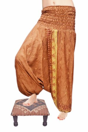 Beautiful Handmade Brown Thai Harem Pants With Embroidery Design-0