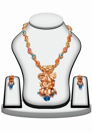 Buy Online Multi-Color Polki Necklace Set with Fashion Earrings -0