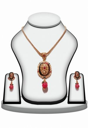 Buy Polki Necklace Set Online in Red and Green Stone-0