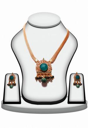 Classic Designer Polki Pendant Set with Earrings in Green Stone-0