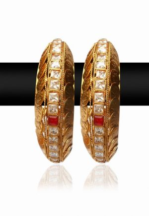 Classy Pearl Bangles With Red, Green and White Stones for Women-0