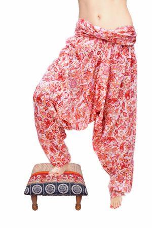 Beautiful Red and White Handmade Cotton Fabric Harem Pants-0