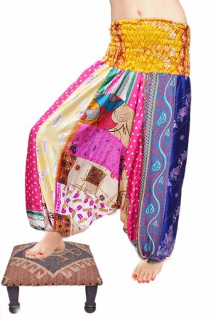 Beautiful Multi-colored Dance Hip Hop Harem Pants with High Yellow Waisted-0