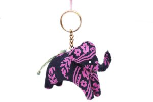 Designer Handmade Cloth Elephant With Pink Embroidery From India-0
