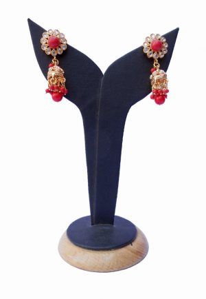 Modern Design Polki Earrings with Red and White Stones in Antique Polish-0