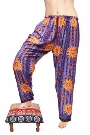 Attractive Flowery Print Designer Baggy Harem Leggings From India-0