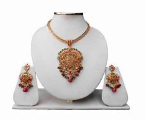Gorgeous Designer Bridal Polki Pendant Set With Earrings for Ladies-0