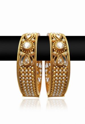 Royal Pair of White Pearl and Stone Bangles for Women-0