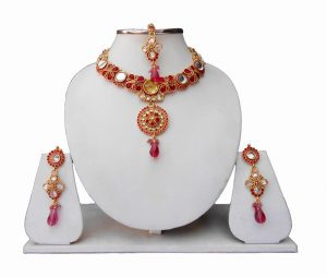 Beautiful Designer Fancy Jewelry Set with Matching Earrings and Tika-0