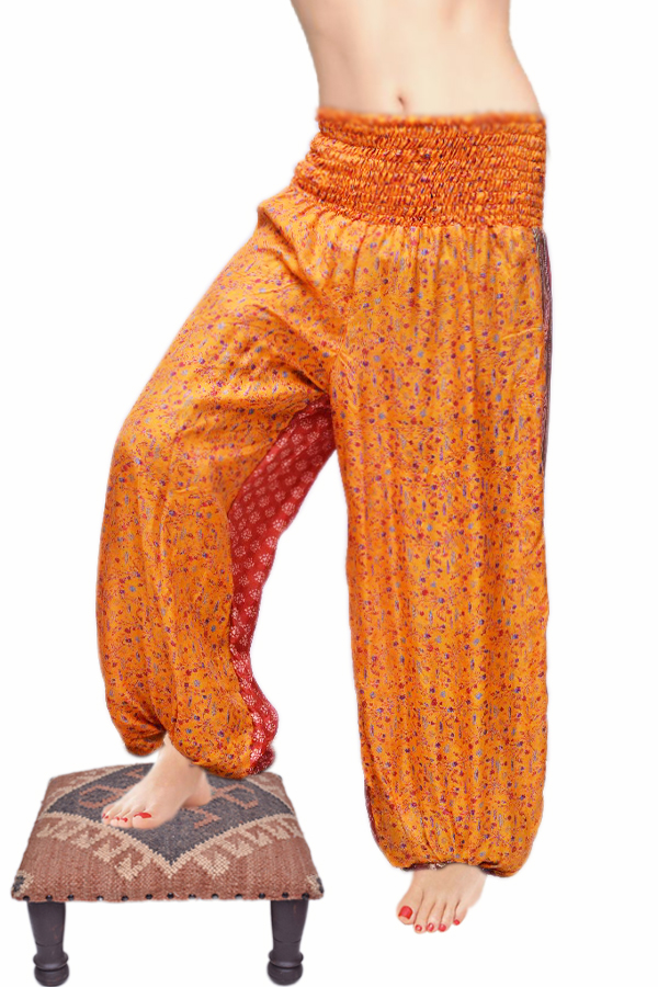 Classic Mustard Yellow Designer Fashion Gypsy Pants With Patchwork Print-0