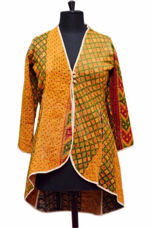 Beautiful Designer Handmade Stitched Yellow Quilted Jackets for Ladies-0