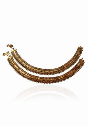 Elegant Designer Indian Anklets Pearl with Golden Polish for Women-0