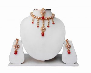 Buy Designer Kundan Necklace Set with Earrings and Tika From India-0