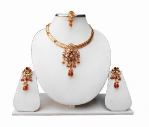 Stylish Designer Kundan Polki Pendant With Fancy Earrings-0