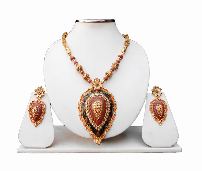 Beautiful Designer Pendant Set with Earrings in Red, Green and Blue Stones-0