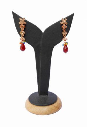 Buy Online Chain Style Designer Polki Earring in Multi Colored Stones-0
