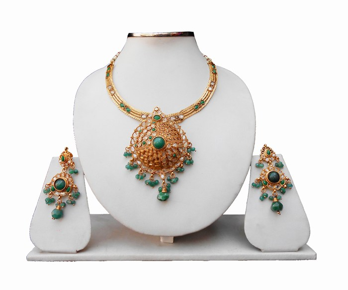 Gorgeous Green Stones Designer Polki Pendant Set With Earrings-0