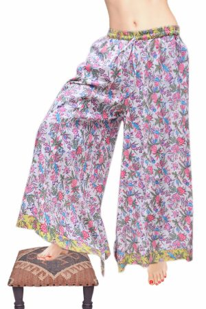 Fashionable Silky Flowery Designed Drop Crotch Pants with Yellow Border-0