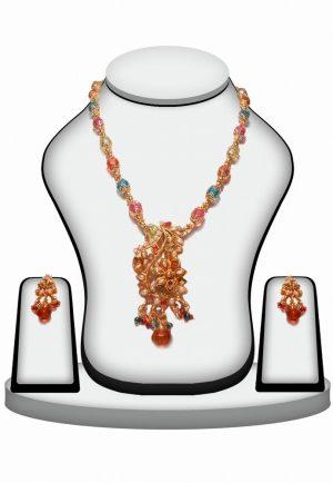 Multi-color Traditional Ethnic Flower Shape Polki Necklace Set -0