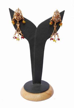 Elegant Semi Precious White Stone Polki Earring for Special Ocassion-0