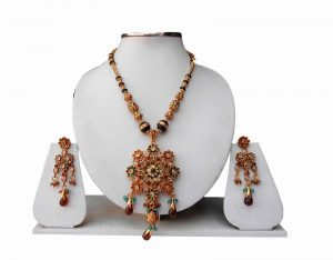 Latest Design Fashion Pendant Set with Earrings in Turquoise, Red and Green Stones-0