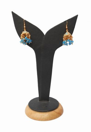 Designer Semi Precious Turquoise Stones Polki Earrings from India-0