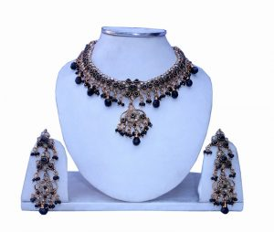 Latest Designer Indian Fashion Polki Necklace Set with Matching Earrings-0