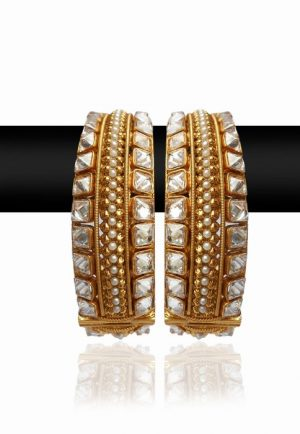Fashionable Golden Bangles with White Stones in an Intricate Design-0